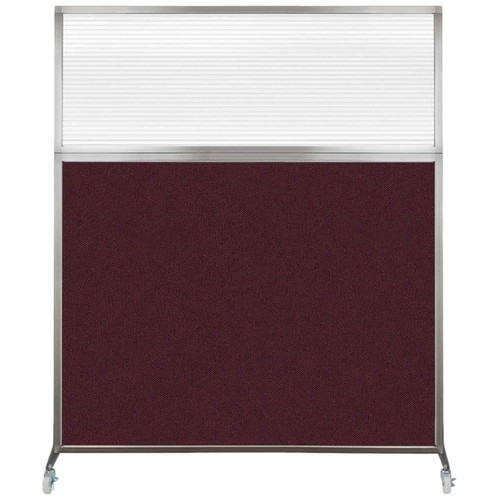 Hush Screen Portable Partition 6' x 6' Cranberry Fabric Clear Fluted Window With Wheels