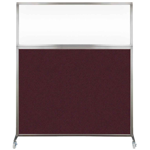 Hush Screen Portable Partition 6' x 6' Cranberry Fabric Clear Window With Wheels
