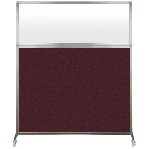 Hush Screen Portable Partition 6' x 6' Cranberry Fabric Frosted Window With Wheels