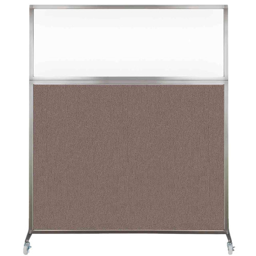 Hush Screen Portable Partition 6' x 6' Latte Fabric Clear Window With Wheels