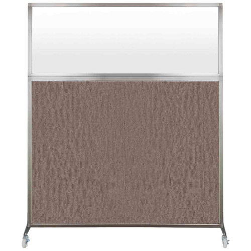 Hush Screen Portable Partition 6' x 6' Latte Fabric Frosted Window With Wheels