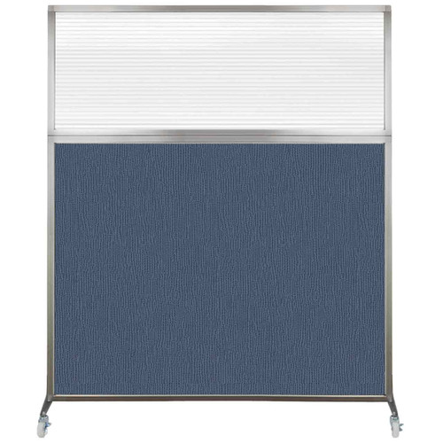 Hush Screen Portable Partition 6' x 6' Ocean Fabric Clear Fluted Window With Wheels