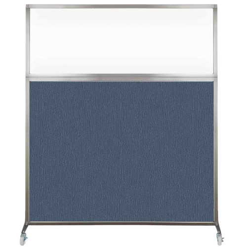 Hush Screen Portable Partition 6' x 6' Ocean Fabric Clear Window With Wheels