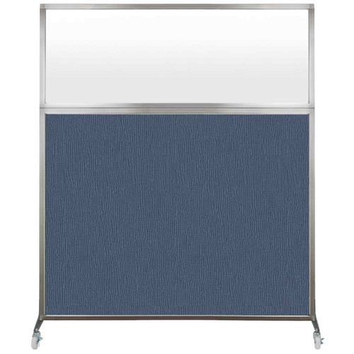 Hush Screen Portable Partition 6' x 6' Ocean Fabric Frosted Window With Wheels