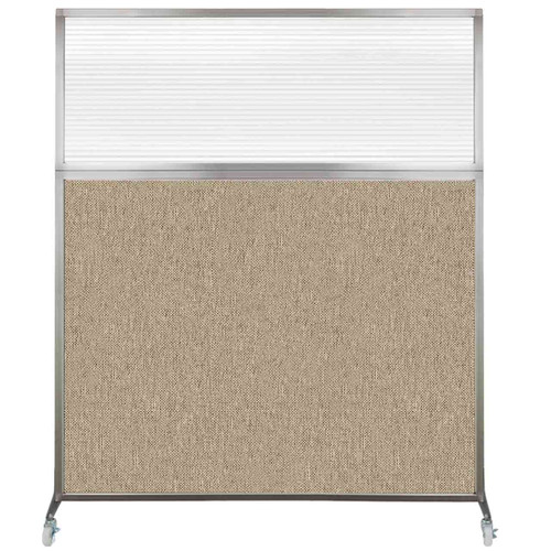 Hush Screen Portable Partition 6' x 6' Rye Fabric Clear Fluted Window With Wheels