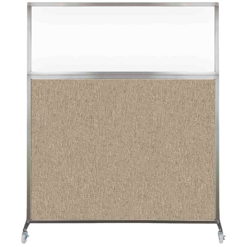 Hush Screen Portable Partition 6' x 6' Rye Fabric Clear Window With Wheels