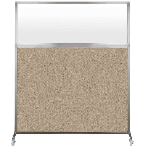 Hush Screen Portable Partition 6' x 6' Rye Fabric Frosted Window With Wheels