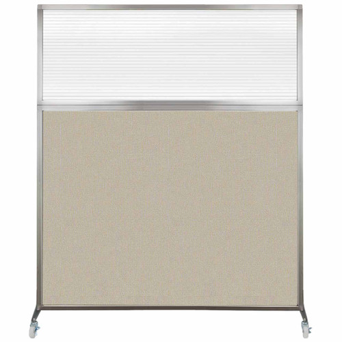 Hush Screen Portable Partition 6' x 6' Sand Fabric Clear Fluted Window With Wheels