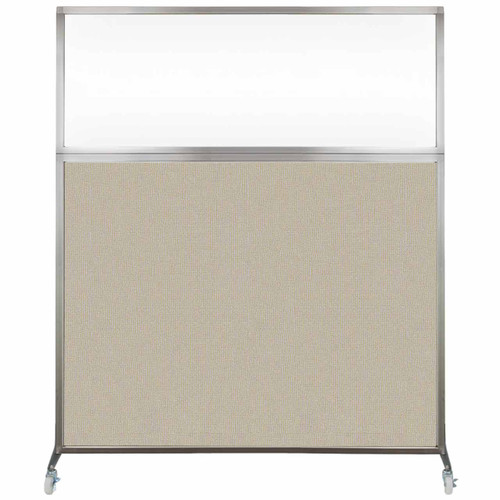 Hush Screen Portable Partition 6' x 6' Sand Fabric Clear Window With Wheels