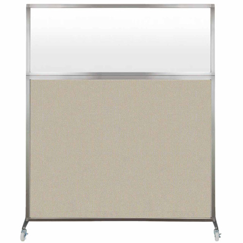 Hush Screen Portable Partition 6' x 6' Sand Fabric Frosted Window With Wheels