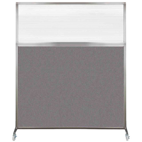 Hush Screen Portable Partition 6' x 6' Slate Fabric Clear Fluted Window With Wheels