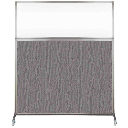 Hush Screen Portable Partition 6' x 6' Slate Fabric Clear Window With Wheels