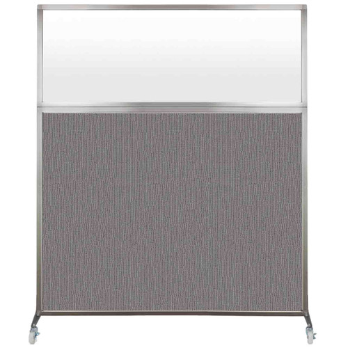 Hush Screen Portable Partition 6' x 6' Slate Fabric Frosted Window With Wheels