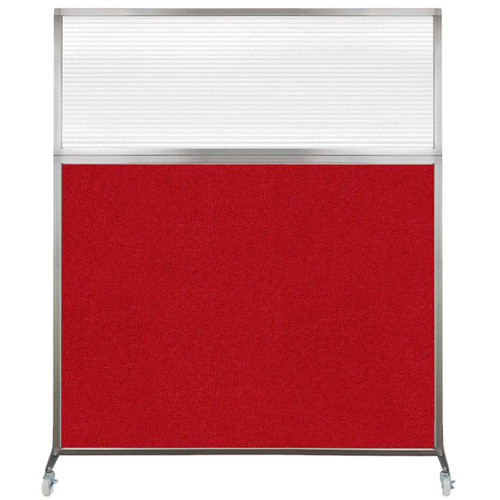 Hush Screen Portable Partition 6' x 6' Red Fabric Clear Fluted Window With Wheels