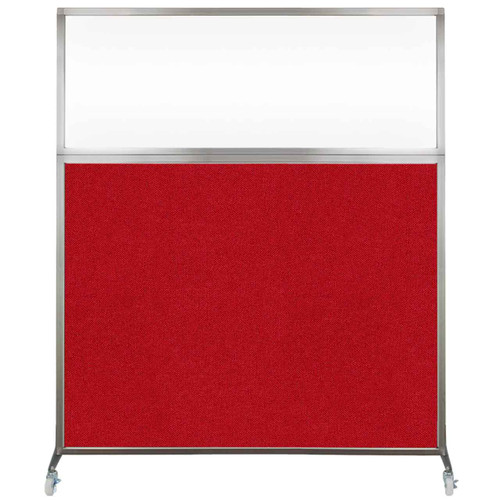 Hush Screen Portable Partition 6' x 6' Red Fabric Clear Window With Wheels