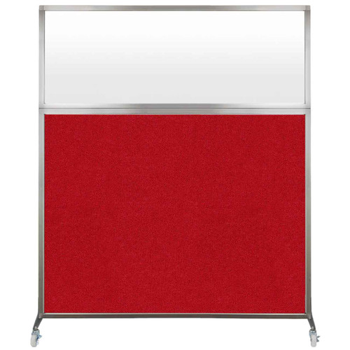 Hush Screen Portable Partition 6' x 6' Red Fabric Frosted Window With Wheels