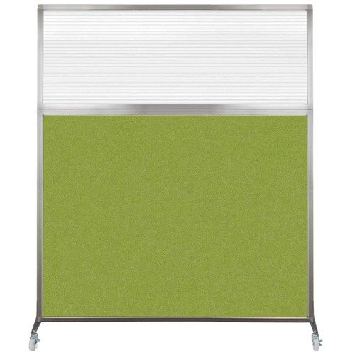 Hush Screen Portable Partition 6' x 6' Lime Green Fabric Clear Fluted Window With Wheels