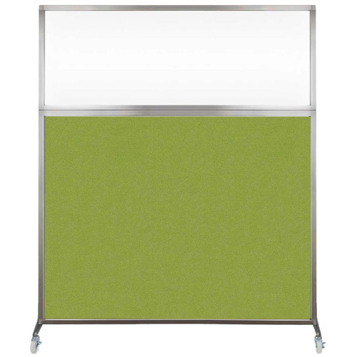 Hush Screen Portable Partition 6' x 6' Lime Green Fabric Clear Window With Wheels