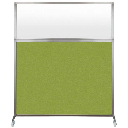 Hush Screen Portable Partition 6' x 6' Lime Green Fabric Frosted Window With Wheels