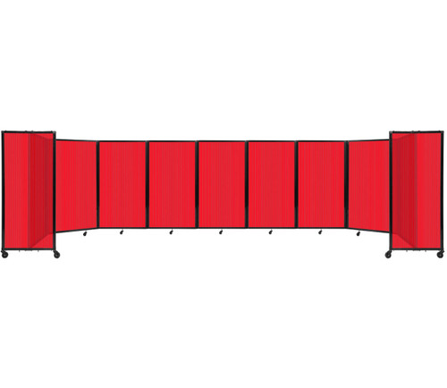 Room Divider 360 Folding Portable Partition 25' x 5' Red Fluted Polycarbonate