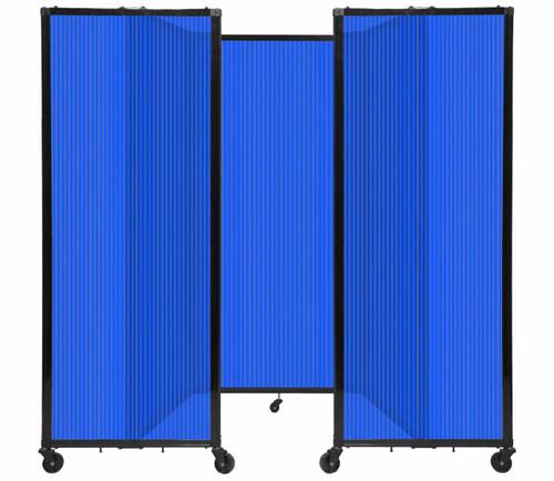 "Room Divider 360 Folding Portable Partition 8'6"" x 6' Blue Fluted Polycarbonate"