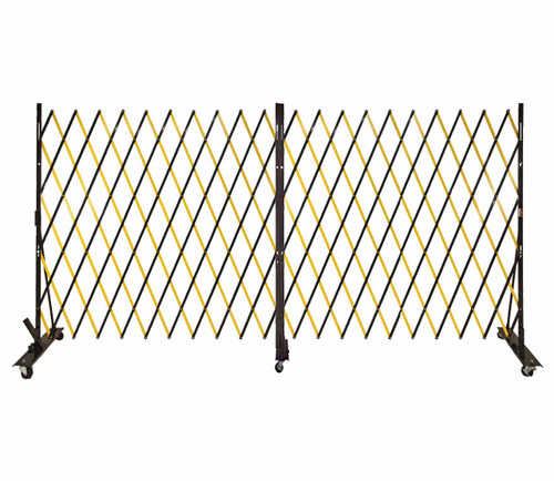 Lock-N-Block Collapsible Security Gate 12' x 6' Yellow Steel