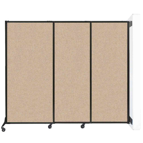 """Wall-Mounted Quick-Wall (Sliding) Partition 7' x 5'10"""" Beige Fabric"""