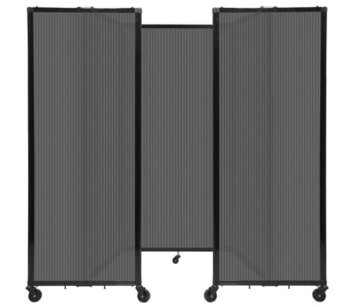 """Room Divider 360 Folding Portable Partition 8'6"""" x 6' Dark Gray Fluted Polycarbonate"""