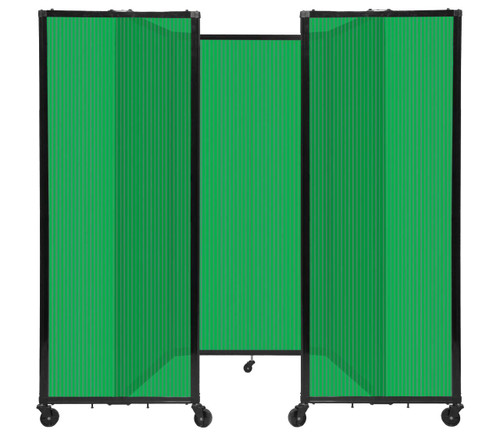"""Room Divider 360 Folding Portable Partition 8'6"""" x 6' Green Fluted Polycarbonate"""