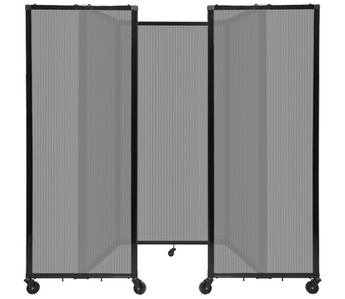 """Room Divider 360 Folding Portable Partition 8'6"""" x 6' Light Gray Fluted Polycarbonate"""