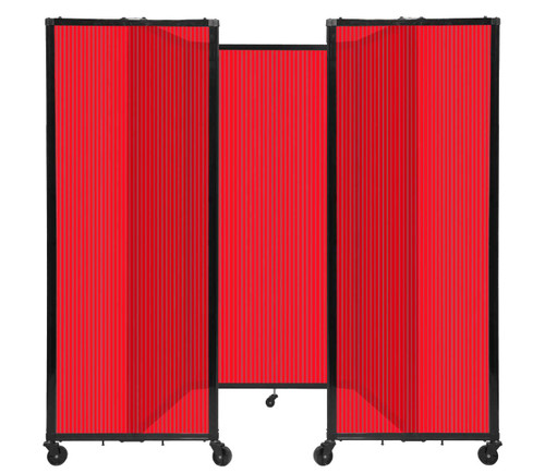 """Room Divider 360 Folding Portable Partition 8'6"""" x 6' Red Fluted Polycarbonate"""