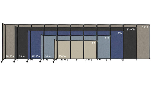 The heights and widths of the Wall-Mounted Room Divider 360