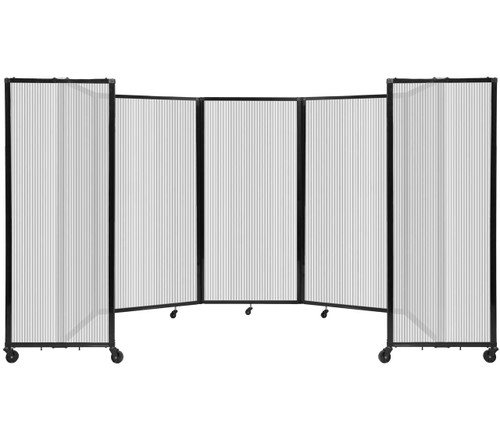 Room Divider 360 Folding Portable Partition 14' x 6' Clear Fluted Polycarbonate