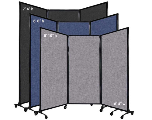 The QuickWall Folding Portable Partition has 1 width and 3 heights.