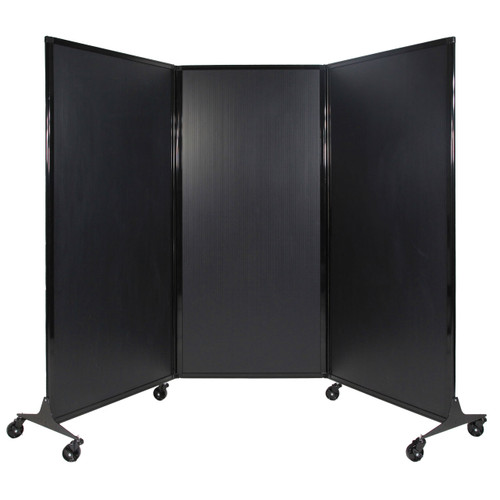 The QuickWall Folding Portable Partition with wheels.