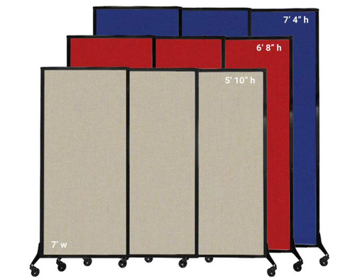 The QuickWall Sliding Portable Partition comes in 1 width and 3 heights.