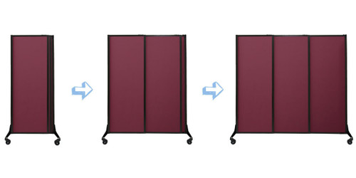 Sequence of the QuickWall Sliding Portable Partition.