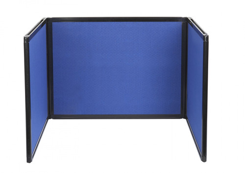The  folding tabletop display with a blue fabric option.