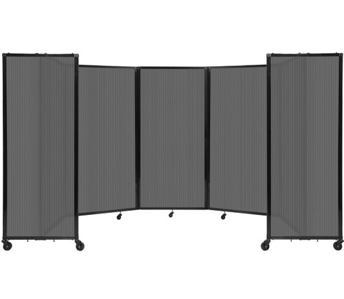 Room Divider 360 Folding Portable Partition 14' x 6' Dark Gray Fluted Polycarbonate