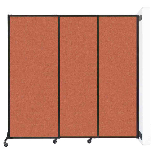 The Wall-Mounted QuickWall Sliding Partition with Papaya fabric.