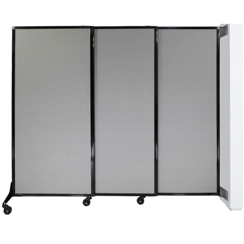 Fully expanded wall-mounted quick-wall sliding partition.