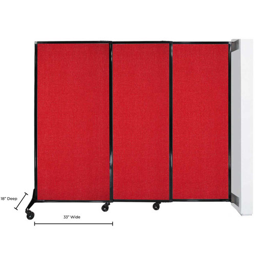 The wall-mounted quick-wall sliding partition with dimensions of the panels and feet.