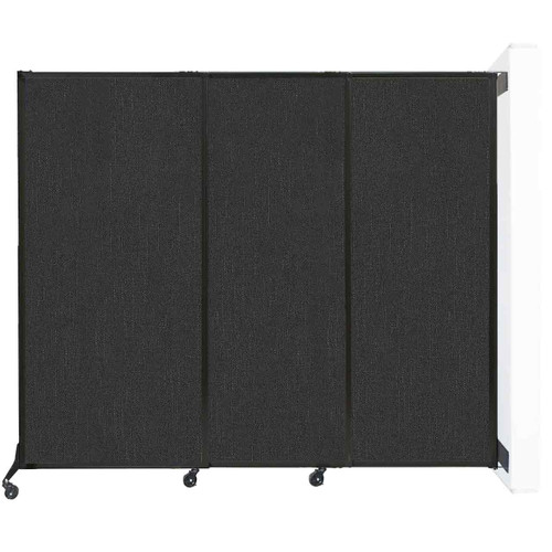 """Wall-Mounted QuickWall Sliding Partition 7' x 5'10"""" Black Fabric"""