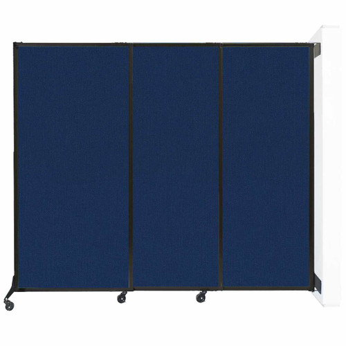 """Wall-Mounted QuickWall Sliding Partition 7' x 5'10"""" Navy Blue Fabric"""