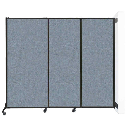 """Wall-Mounted QuickWall Sliding Partition 7' x 5'10"""" Powder Blue Fabric"""