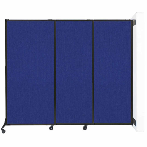 """Wall-Mounted QuickWall Sliding Partition 7' x 5'10"""" Royal Blue Fabric"""