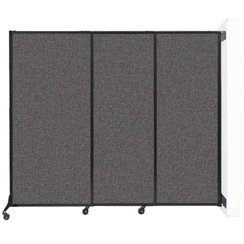 """Wall-Mounted QuickWall Sliding Partition 7' x 5'10"""" Charcoal Gray Fabric"""
