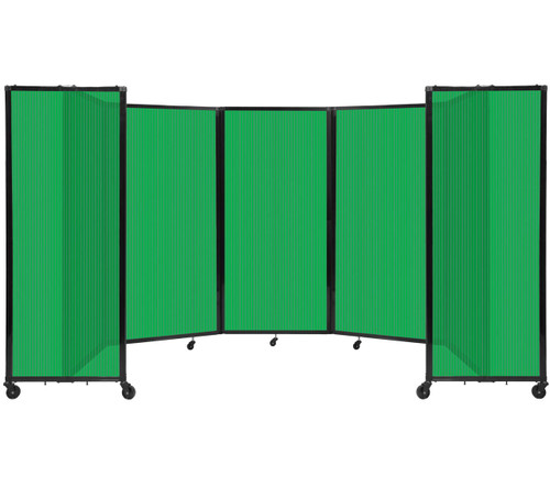 Room Divider 360 Folding Portable Partition 14' x 6' Green Fluted Polycarbonate