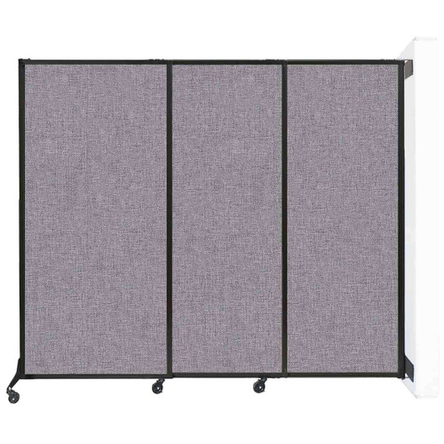 """Wall-Mounted QuickWall Sliding Partition 7' x 5'10"""" Cloud Gray Fabric"""