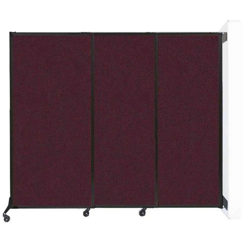 "Wall-Mounted QuickWall Sliding Partition 7' x 5'10"" Cranberry Fabric"